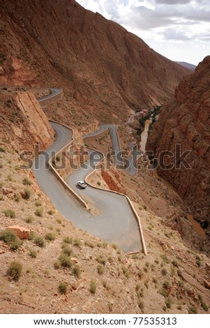 An Extreme Winding Road In Morocco
