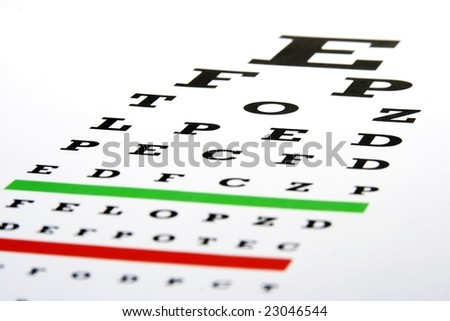 An eye chart in a plain white background.