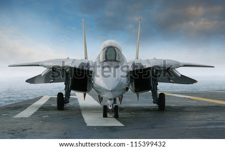 An F-14 jet fighter on an aircraft carrier deck beneath blue sky and clouds viewed from front