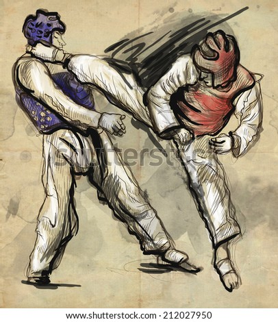 An full sized hand drawn illustration (original drawing on paper) from series Martial Arts: TAEKWON DO (is a Korean martial art. It combines combat and self-defense techniques with sport and exercise)