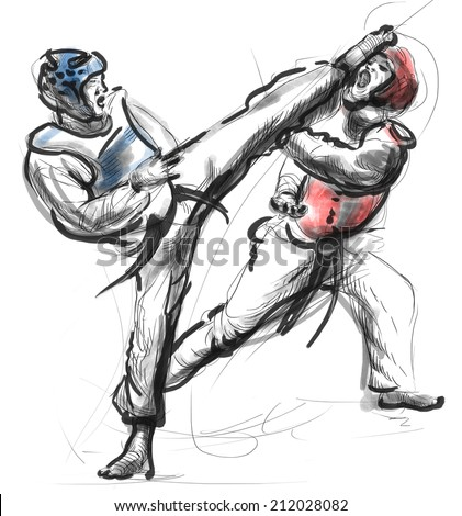 An full sized hand drawn illustration (original drawing on white) from series Martial Arts: TAEKWON DO (is a Korean martial art. It combines combat and self-defense techniques with sport and exercise)