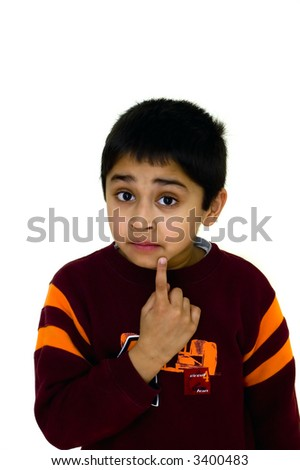 An handsome child  thinking - concept of surprise