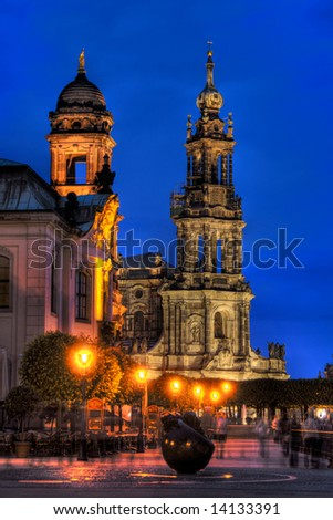 An HDR image of Dresden's Bruhl's Terrace at night