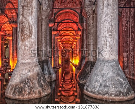 An HDR image of the dark, damp and gloomy basilica cistern situated under the turkish city of Istanbul.