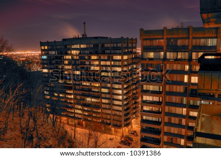 An HDR night image of a Montreal appartment complex.