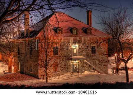 An HDR night image of Smith House on Montreal's Mont Royal