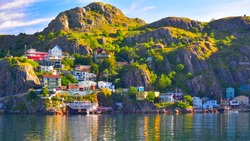 An HDR panoramic image of The Battery community in St John's harbour, Newfoundland, Canada.
