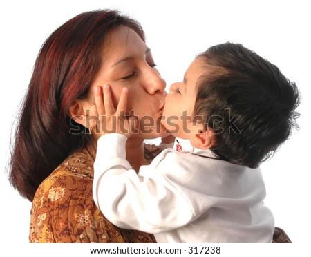an hispanic mother and her son kissing