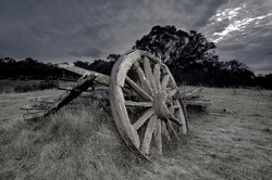 an historic wagon in a field