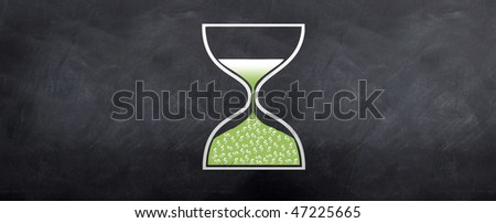An hour glass showing dollars dropping into the lower end of the glass. Illustrating time is money.