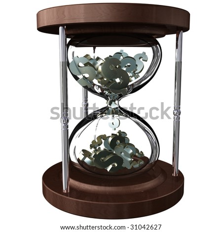 An hourglass with falling dollar symbols instead of sand. Time is money