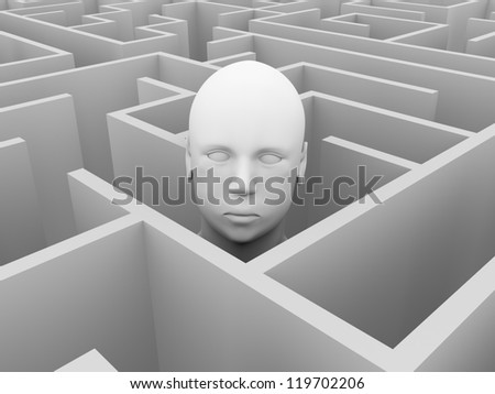 An human head into a labyrinth. Abstract concept of human thinking