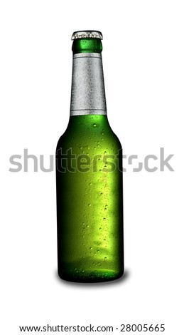 An ice cold beer bottle isolated on white. With a drop shadow