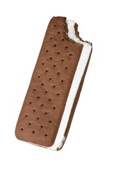 An ice cream sandwich standing on its own with a bit mark on top right side. Isolated against white background.