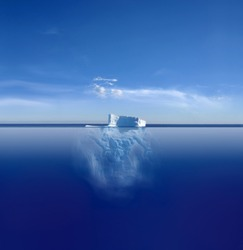 An iceberg above and below on its journey in the South Atlantic