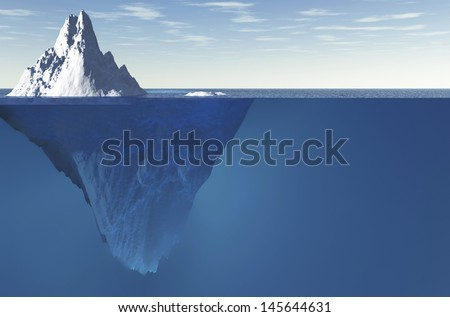 An iceberg with visible underwater surface