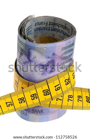 an icon image austerity package with swiss francs and tape measure