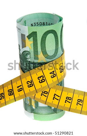 An icon image economy package with Euro bank note and tape measure