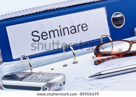 an icon image for further education, training and adult education. folder and documents in a seminar