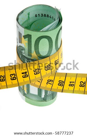 An icon image with austerity ? bill and tape measure