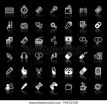 An icon set relating to internet media applications