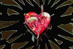 An icy heart with rose petals pierced with shards of glass on a black background.