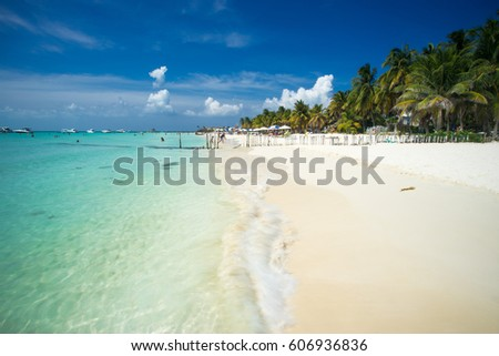 An idyllic beach on Isla Mujeres, Cancun, Mexico Foto stock ©