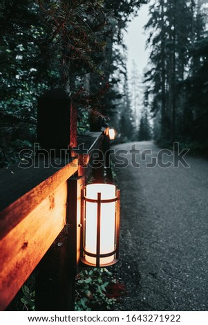 An illuminated sconce attached to a fence railing sits alongside a road in the thick fog on the Emerald Lake  peninsula in Yoho National Park, BC, Canada. stock photo