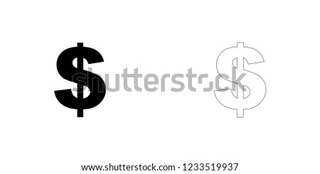 An Illustrated Icon Isolated on a Background - Dollar Sign
