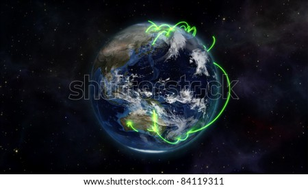An illustration about the connected world in the space