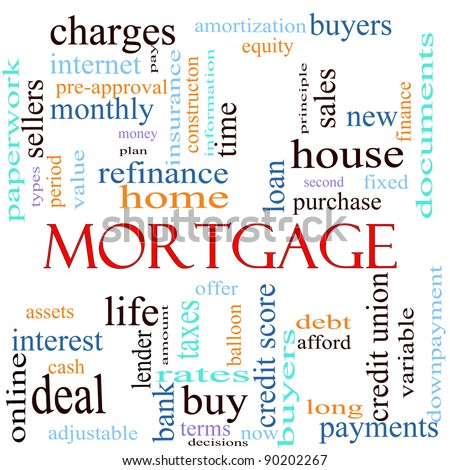 An illustration around the word mortgage with lots of different terms such as rates, interest, home, refinance, house, charges, loan, purchase, taxes, bank, lender, debt, payments, and a lot more.