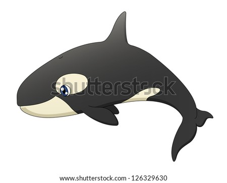 An illustration depicting a cute cartoon killer whale swimming. Raster.