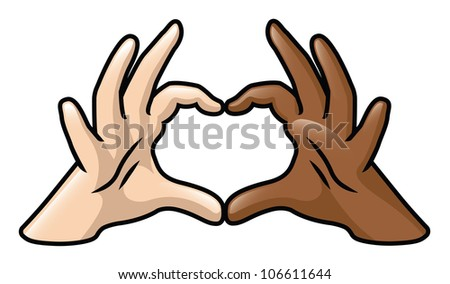 An illustration depicting two cartoon hands of different skin colors forming a heart. Raster.