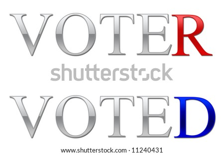 An illustration depicting voter and voted showing the republican and democratic colours - stock photo