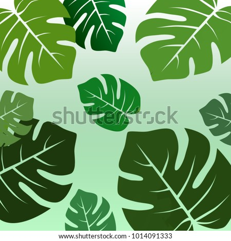 An illustration design of basic background  and green leafs on top.  - Shutterstock ID 1014091333