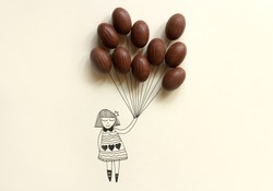 An illustration drawing of a girl holding chocolate eggs like balloons