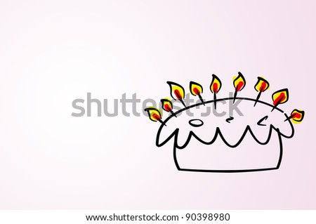 an illustration of a birthday cake with candles on a gradient background - stock photo