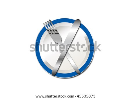 an illustration of a blue rimmed plate with silverware crossed on top