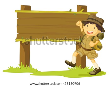 an illustration of a boy scout next to a sign