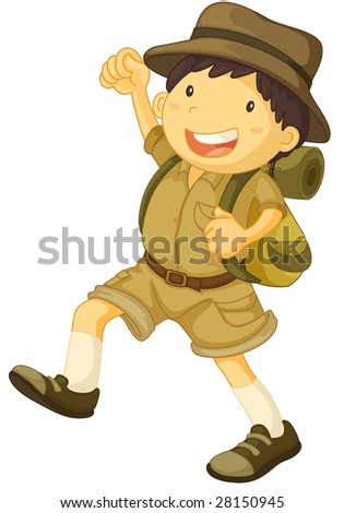 an illustration of a boy scout smiling