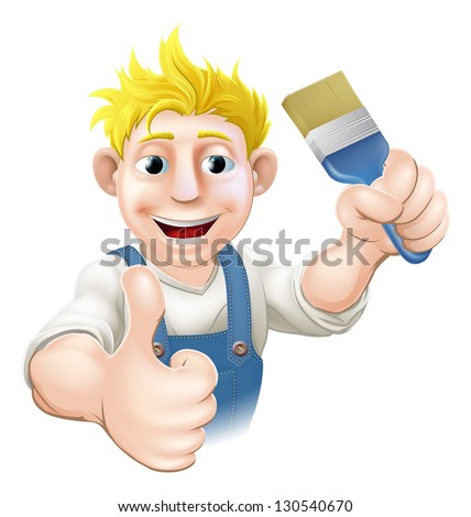 An illustration of a cartoon painter holding up a paintbrush and giving a thumbs up