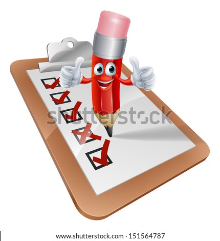 An illustration of a cartoon pencil character writing on a survey clipboard