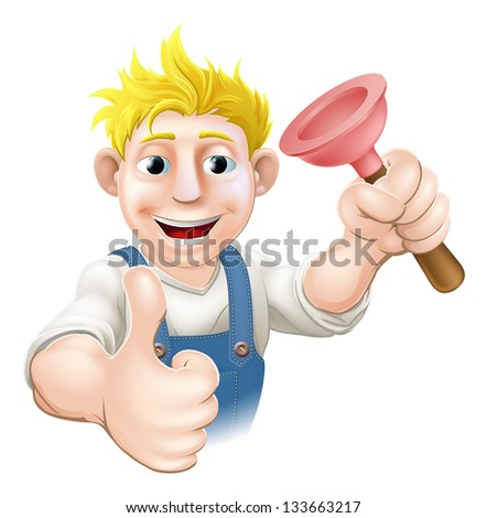 An illustration of a cartoon plumber or drains guy with a sink or toilet plunger giving a thumbs up