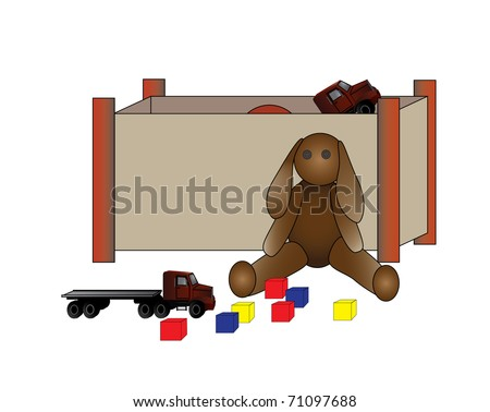 An illustration of a child\'s toy box with teddy bear, truck and building block toys.
