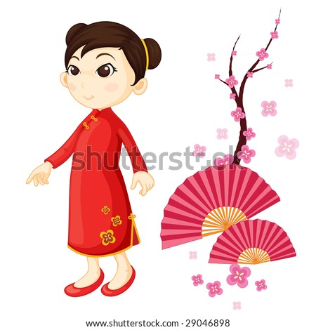 An illustration of a chinese girl in traditional dress stock photo