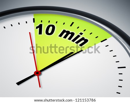An illustration of a clock with the words 10 min