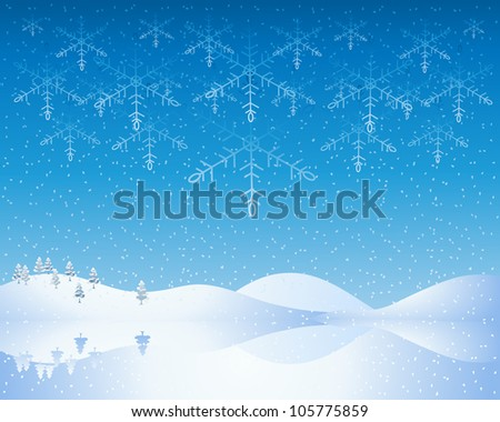 an illustration of a cold winter christmas scene with snowy hills frozen lake and deep blue evening sky with abstract snowflakes