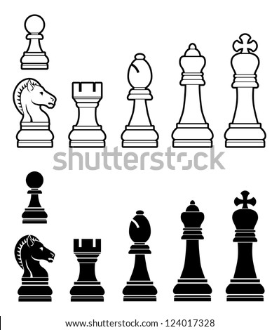 An illustration of a complete set of chess pieces in black and white