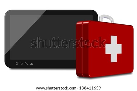 An illustration of a computer tablet and first aid suitcase / Computer tablet first aid