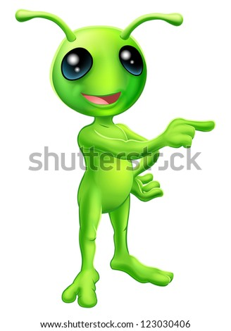 An illustration of a cute green cartoon alien pointing a finger and showing something
